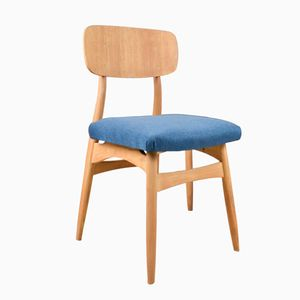 Ash Dining Chair with Deep Blue Upholstery, 1960s