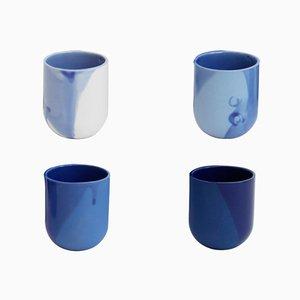Tazzine da caffè Sum con finiture blu raw, set di 4