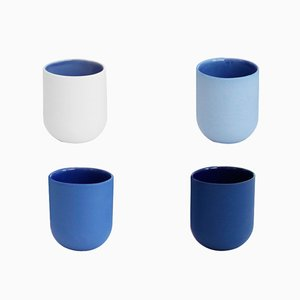 Sum Espresso Cups in Blue Smooth Finish, Set of 4