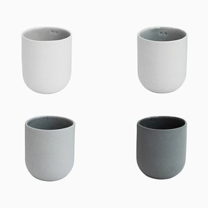 Sum Mugs in Grey Smooth Finish, Set of 4