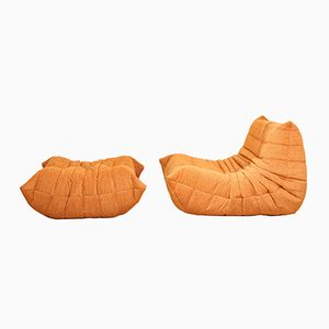 Vintage orange Togo & Pouf by Michel Ducaroy for Ligne Roset, Set of 2