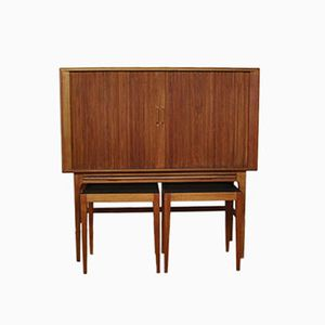 Danish Cabinet with 2 Sidetables by Kurt Ostervig for KP Mobler, 1950s