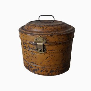 English Industrial Storage Tin With Brass Elements