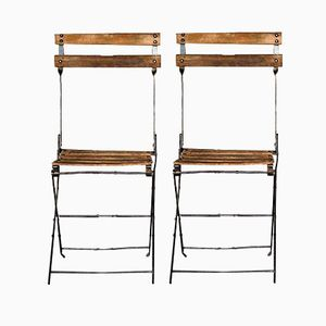 French Vintage Garden Folding Chairs, 1940s, Set of 2