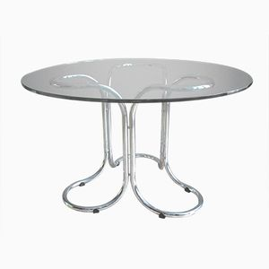 Vintage Glass Table with Metal Base