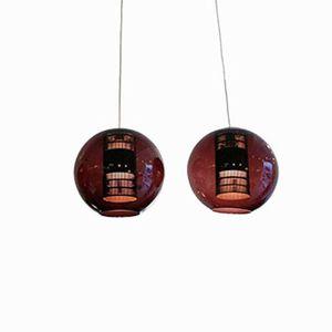 Vintage Purple Glass Pendant Lamps, Set of 2