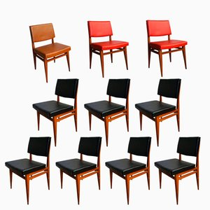 Black, Red, and Brown Chairs, 1950s, Set of 10