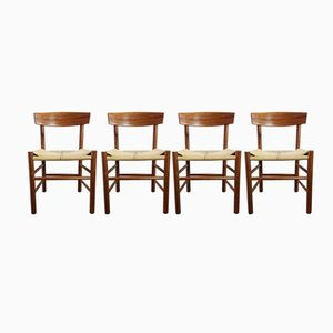 Vintage J39 Oak & Paper Cord Dining Chairs by Børge Mogensen for FDB Mobler, Set of 4