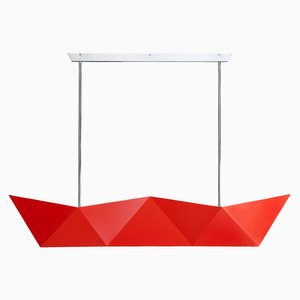 Deriva Fluorescent Orange Hanging Lamp by Alessandro Mendini