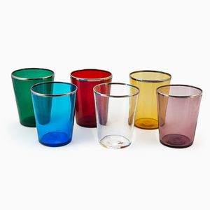 6 Mixed Colored Vaso Water Glasses by Giberto Arrivabene