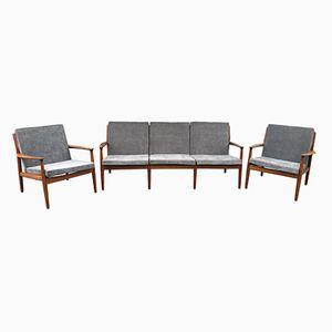 Teak Sofa & Armchairs by Greta Jalk, 1960s