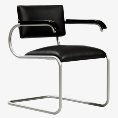 Modernist Desk Chair with Black Leather Upholstery