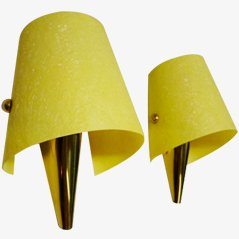Wall Lamps with Brass Fastenings, 1950s, Set of 2