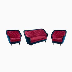 Italienisches Sofa & Sessel, 1950er