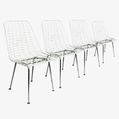 Vintage White Wire Chairs, Set of 4