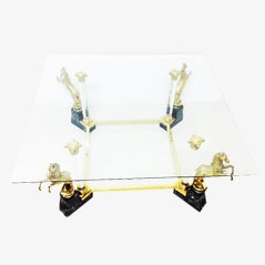 Vintage Glass Coffee Table with Brass Horse Legs, 1970s