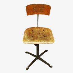 Chaise de Bureau Industrielle, Belgique, 1950s