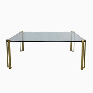 Vintage Glass & Brass Coffee Table by Peter Ghyczy