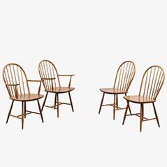 Vintage Beech Wood Dining Chairs, Set of 4