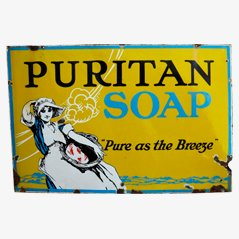 Vintage Puritan Soap Emailschild, England, 1910er