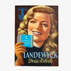 Vintage Landewyck Tabak Werbepappe, 1950er