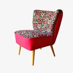 Sedia da cocktail con tessuto floreale, anni '50