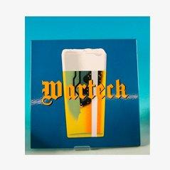 Insegna vintage smaltata della birra Warteck di Emaillerie Corgemont