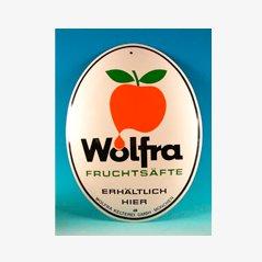 Insegna vintage smaltata Wolfra Fruchtsäfte