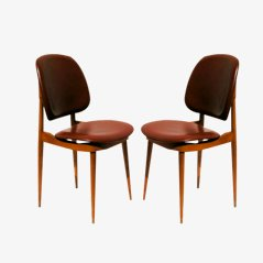 Mid Century Leatherette Chairs by Pierre Guariche, 1960, Set of 2