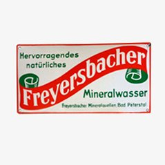 Insegna vintage smaltata Freyersbacher Mineralwasser di C. Robert Dold
