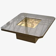 Marble and Acid Etched Brass Coffee Table by Georges Mathias, 1970s