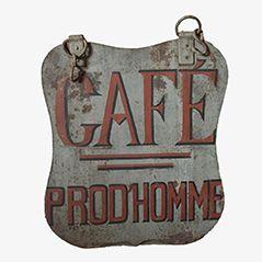 Insegna Café vintage in metallo dipinto a mano