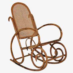 Rocking Chair Vintage en Rotin, 1960s
