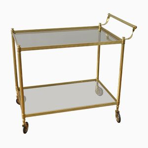 Brass & Smoked Glass Serving Trolley, 1950s