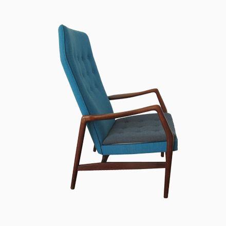 fauteuil avec haut dossier en teck par kurt pour andersen bohm en vente sur pamono
