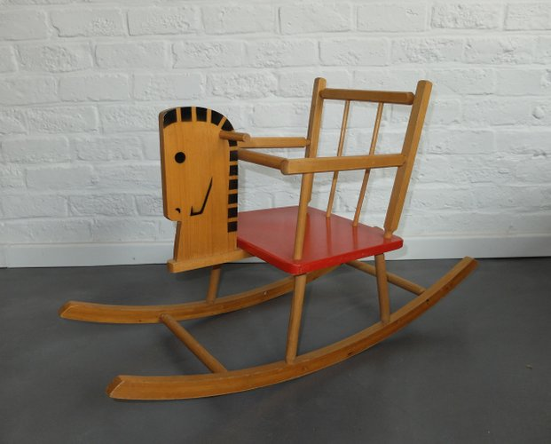 Vintage wooden children 39 s rocking horse for sale at pamono for Vintage horseshoes for sale
