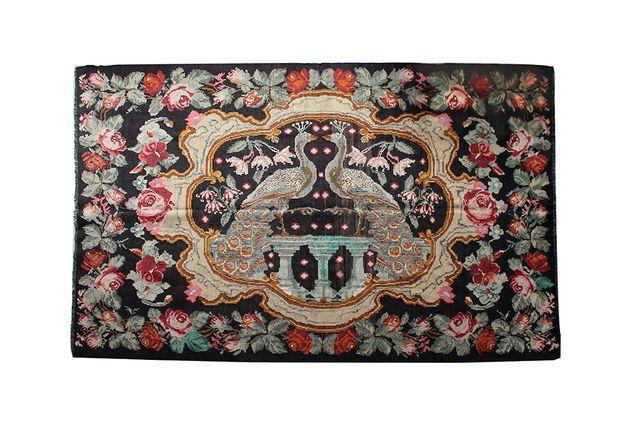 armenischer vintage karabagh kilim pfauen rosen teppich. Black Bedroom Furniture Sets. Home Design Ideas