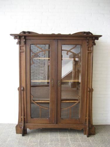 belgische art nouveau kommode mit 2 glast ren bei pamono kaufen. Black Bedroom Furniture Sets. Home Design Ideas