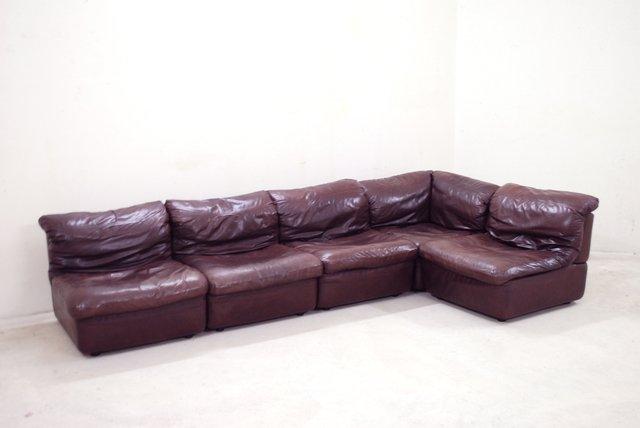 modulares bordeaux ledersofa von rolf benz 1985 bei. Black Bedroom Furniture Sets. Home Design Ideas