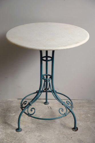 Gartentisch aus schmiedeeisen mit tischplatte aus marmor for Gartentisch marmor