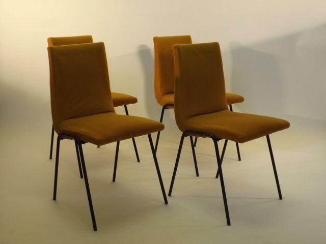 belgian robert dining chairs by pierre guariche for meurop. Black Bedroom Furniture Sets. Home Design Ideas