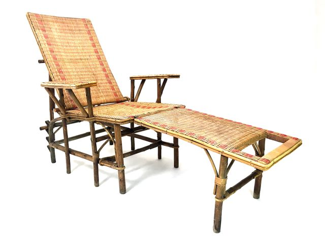 French wicker and bamboo chaise longue with footrest for Chaise longue for sale uk