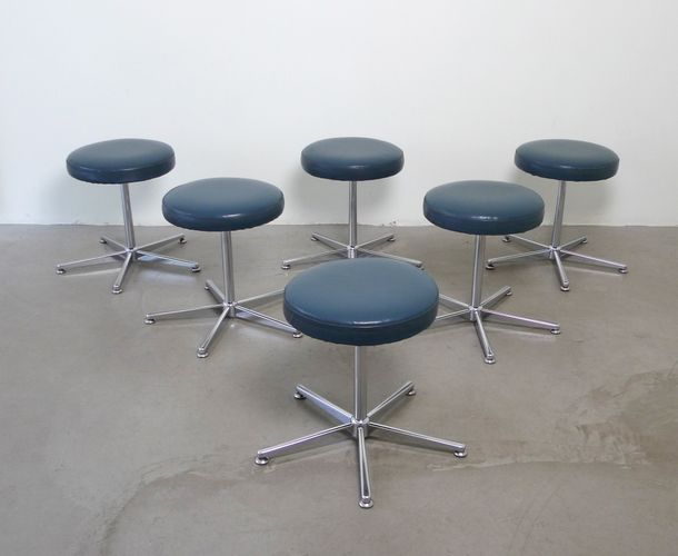 German Rotatable Teal Leather Stool 1970s For Sale At Pamono