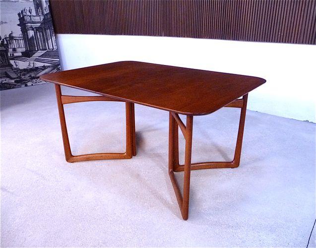 ausziehbarer d nischer esstisch aus teakholz von hvidt m lgaard f r france daverkosen 1950er. Black Bedroom Furniture Sets. Home Design Ideas