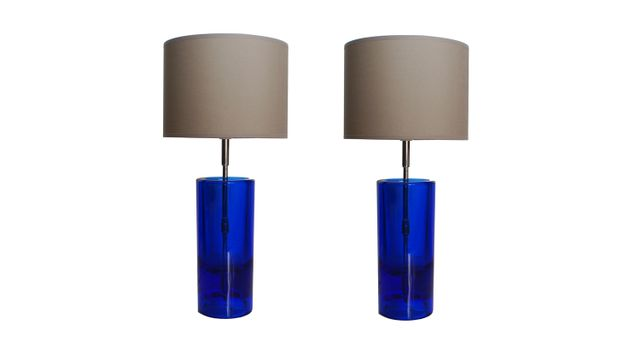 Vintage Blue Glass Table Lamps By Daum, Set Of 2 For Sale At Pamono