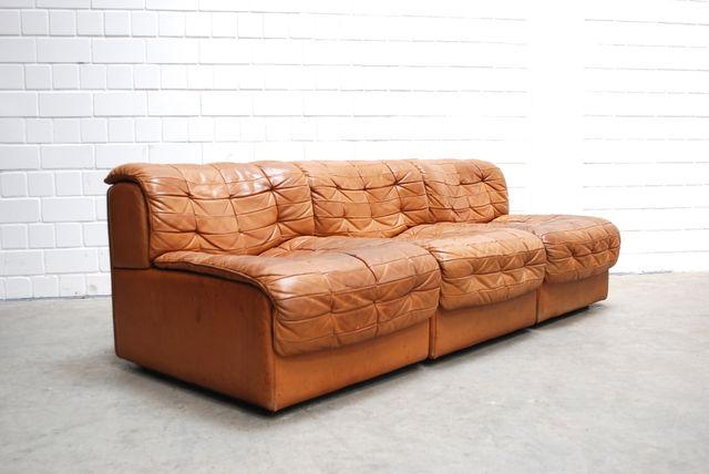 cognacfarbenes modulares schweizer ds 11 ledersofa von de sede 1985 bei pamono kaufen. Black Bedroom Furniture Sets. Home Design Ideas