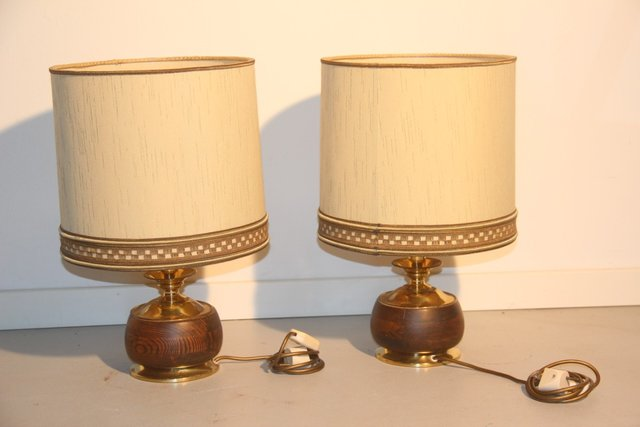 antique brass table lamp with black shade lamps australia touch uk wood set