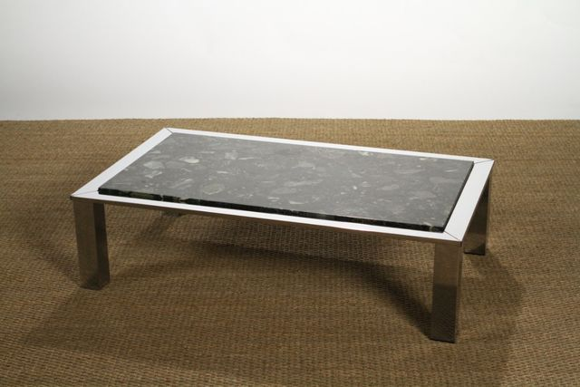 chrome marble coffee table from roche bobois 1970s for sale at pamono. Black Bedroom Furniture Sets. Home Design Ideas