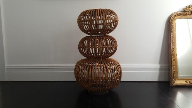 Modernist Vintage Italian Lobster Pot Wicker Rattan Stools Table By Franco Albini For Knoll