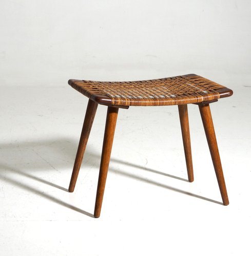 Danish Teak Stool With Woven Cane Seat For Sale At Pamono